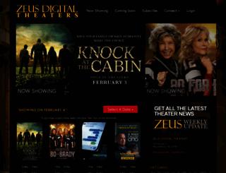 zeustheaters.com screenshot
