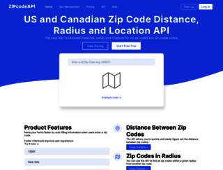 zipcodeapi.com screenshot