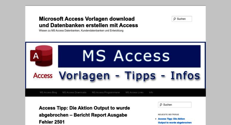 Access access-forum.successcontrol.de. Microsoft Access Vorlagen ...