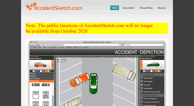 Access accidentsketch.com. Draw the diagram of your accident online ...