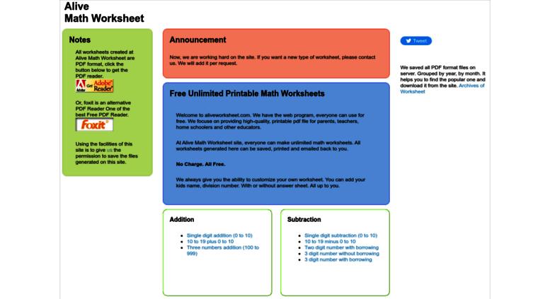 Access aliveworksheet.com. Alive Free Math Worksheet - Unlimited ...