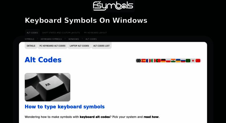 Access Alt Codes Alt Codes Symbols And Character Computer