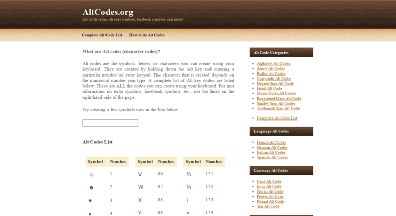 Access Altcodes Altcodes List Of Alt Codes Alt Symbols