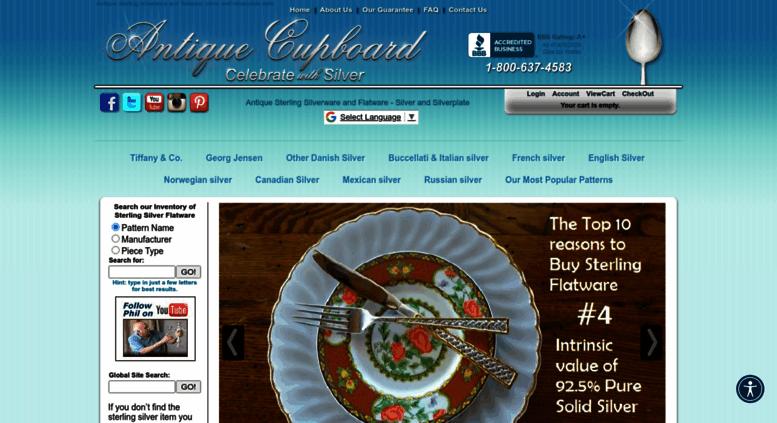 antiquecupboard.com screenshot - Access Antiquecupboard.com. Antique Sterling Silverware And Flatware