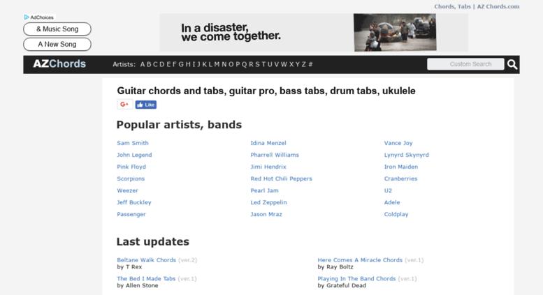 Access azchords.com. GUITAR TABS & CHORDS | AZ Chords