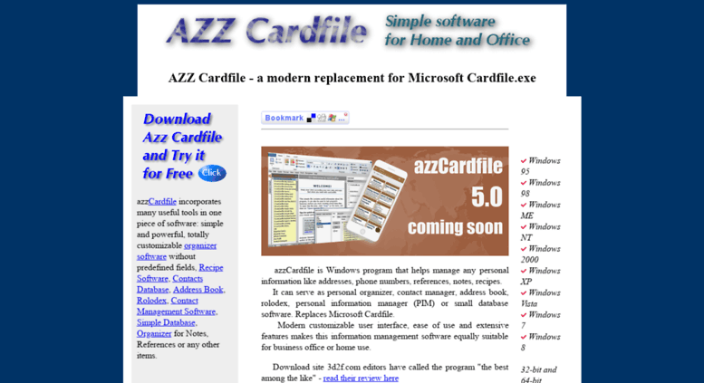 access azzcardfile com azz cardfile software free form personal