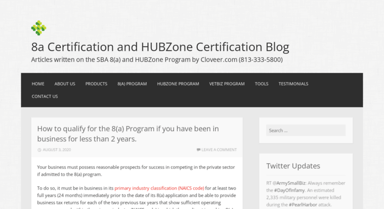Access blog.cloveer.com. 8a Certification and HUBZone Certification ...