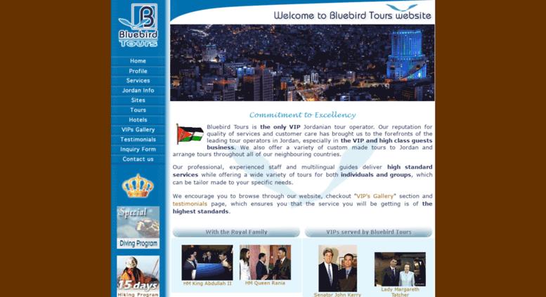 Access bluebird.com.jo. Bluebird Tours - Jordan VIP Tours