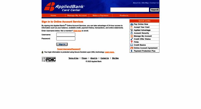 cardcenterappliedbankcom screenshot - Visa Unsecured Credit Card