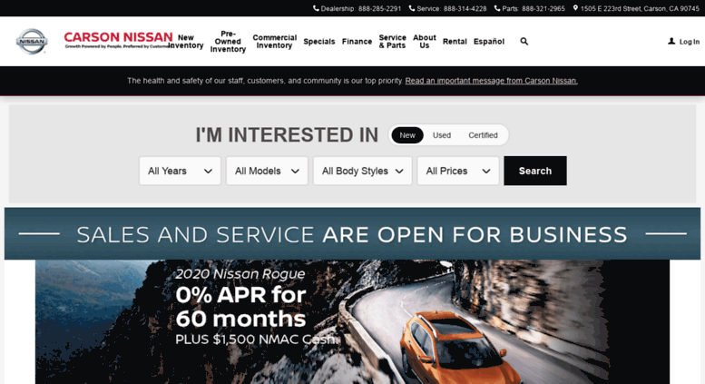 Carsonnissan.com Screenshot