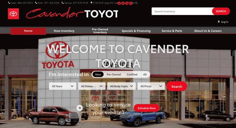 Cavendertoyota.com Screenshot