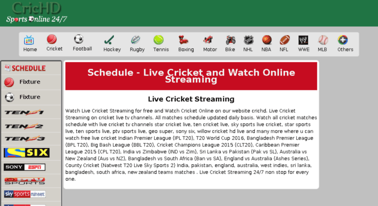 Live cricket match streaming crichd