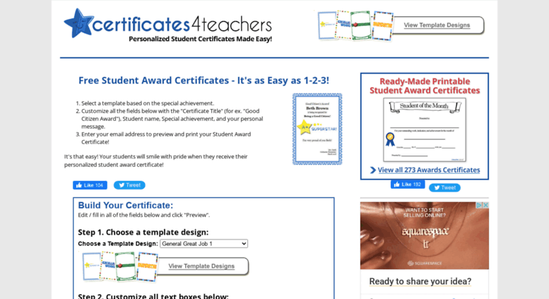 123 Certificates Offers Free Rewards Recognition School Awards And
