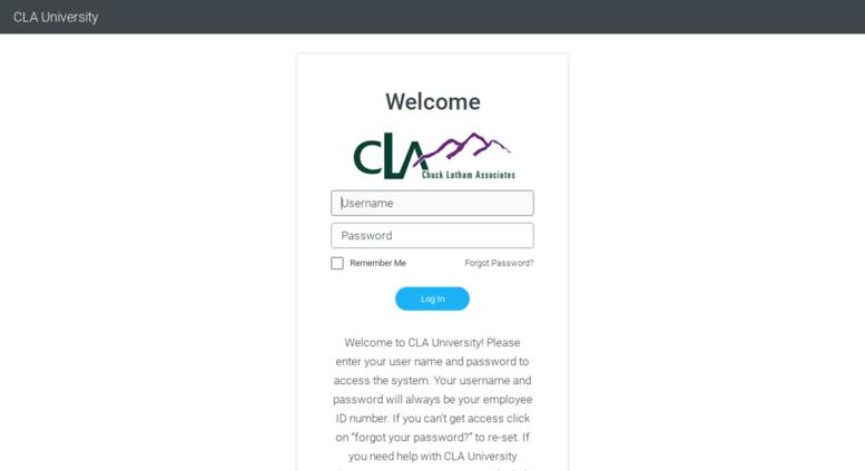 cla university login or register