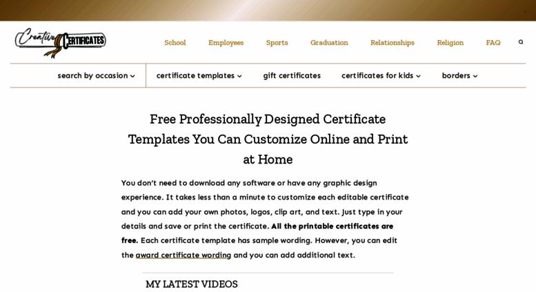 Access Creativecertificates Free Custom Certificate Templates