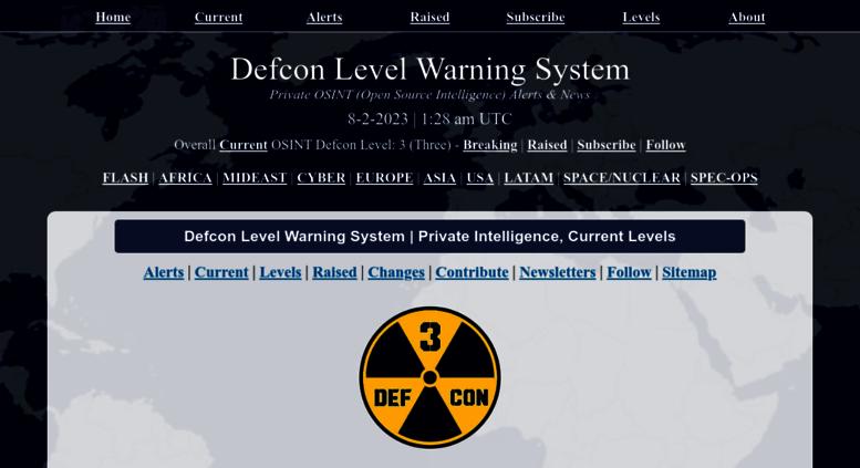 Defcon warning system levels