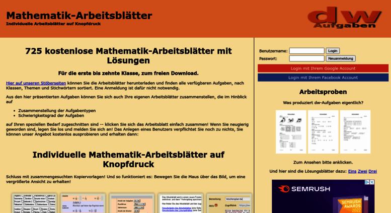 Access dw-aufgaben.de. dw-Aufgaben - Individuelle Mathematik ...