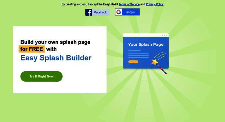 access easy splash buildercom build your own splash page for free with easy splash builder