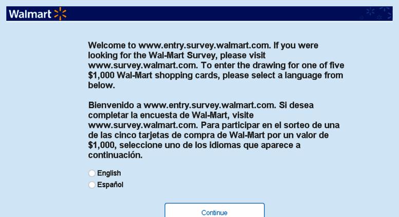 Www survey walmart com english