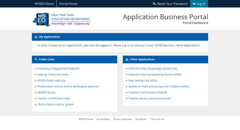 Access eservices.nysed.gov. NYSED Application Business Portal ...