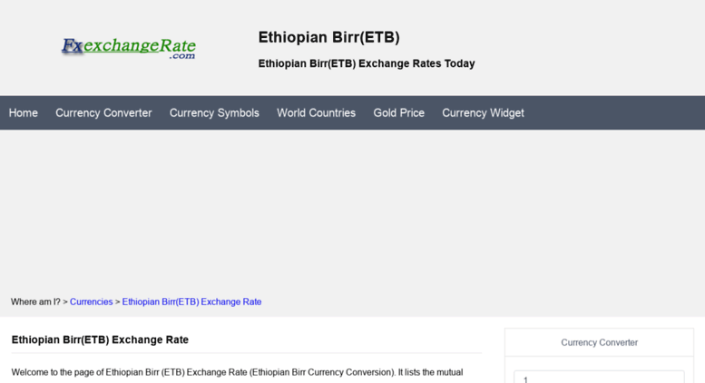 Access Etbfxexchangerate Ethiopian Birretb Exchange Rates