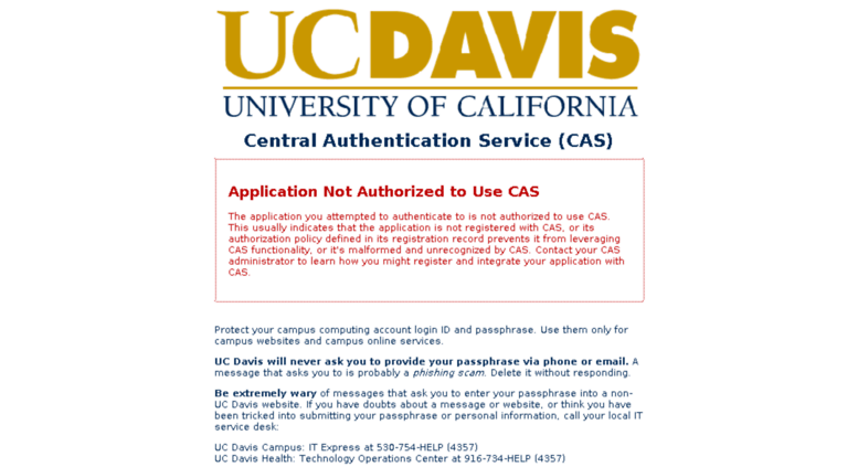 Uc Davis Cas Central Authentication Service