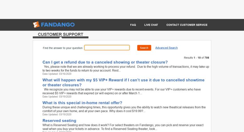 Access fandango.custhelp.com. Find Answers