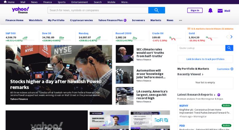Yahoo finance stock quotes