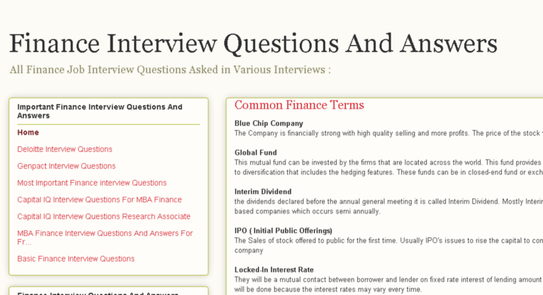 access financeinterviewquestionblogspotin finance interview questions and answers