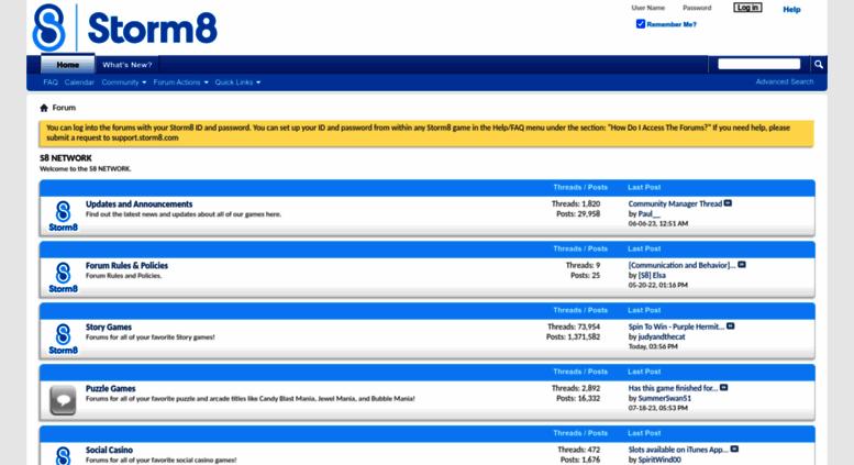 Access forums.storm8.com. S8 NETWORK