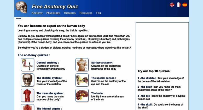 Access free-anatomy-quiz.com. Free Anatomy Quiz