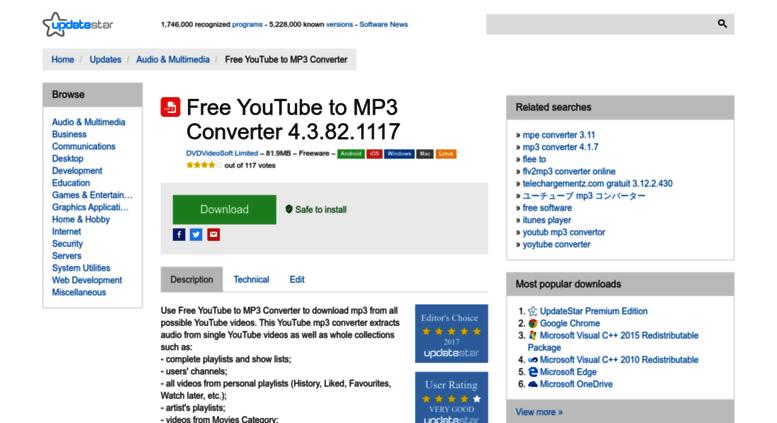 Free Youtube To Mp3 Converter.updatestar.com Screenshot