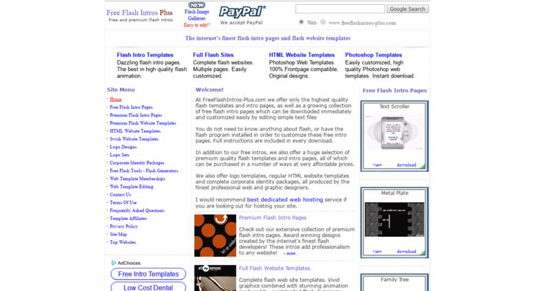 Access freeflashintros-plus.com. Free Flash Intros Plus