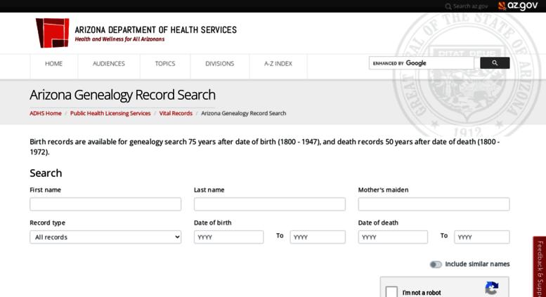 Access genealogy.az.gov. genealogy.az.gov-Arizona Genealogy Birth ...