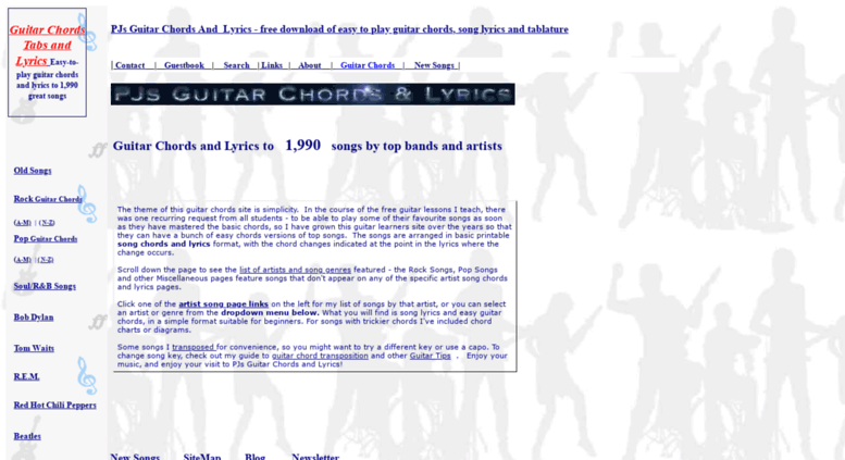 Access guitarsongs.info. Guitar Chords and Lyrics | PJs Guitar Songs ...