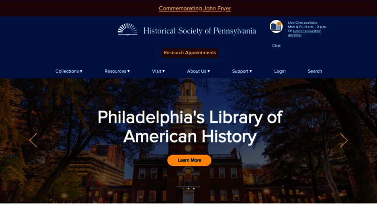 Access hsporg Historical Society of Pennsylvania Make History Yours
