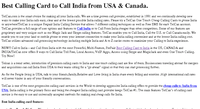 indialdnet screenshot - India Calling Card From Usa