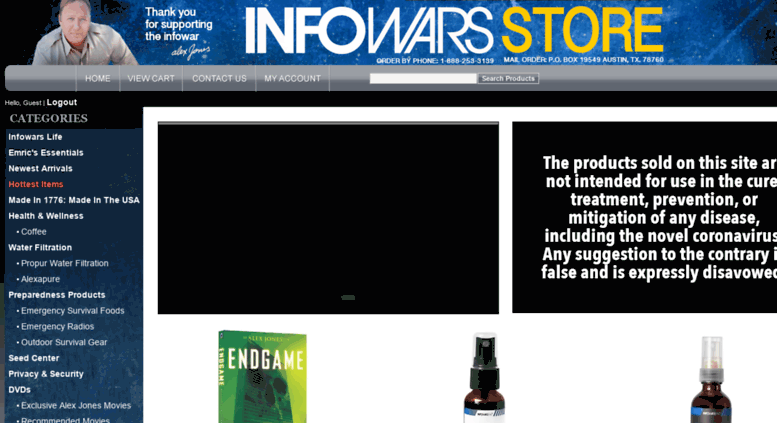 access infowarsshop.com. welcome to the alex jones infowars store