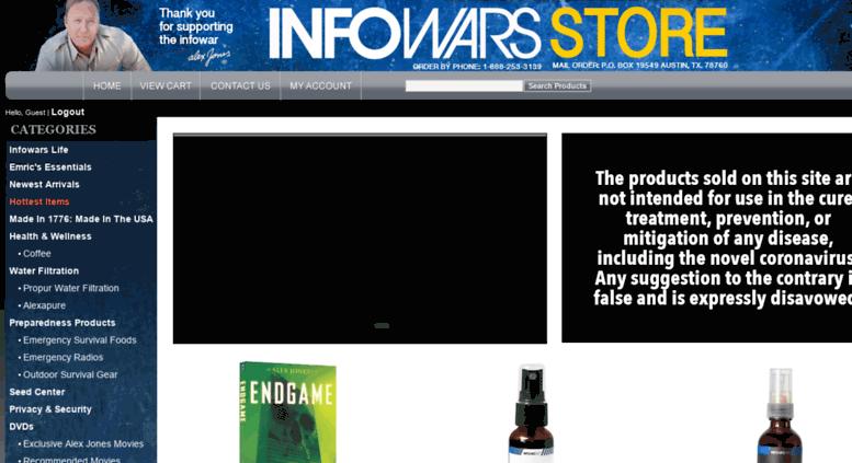 access infowarsshop.com. welcome to the alex jones infowars store