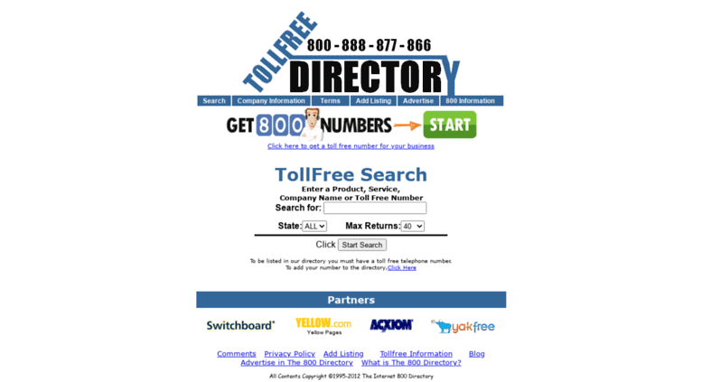access inter800 com internet 800 directory directory of free toll