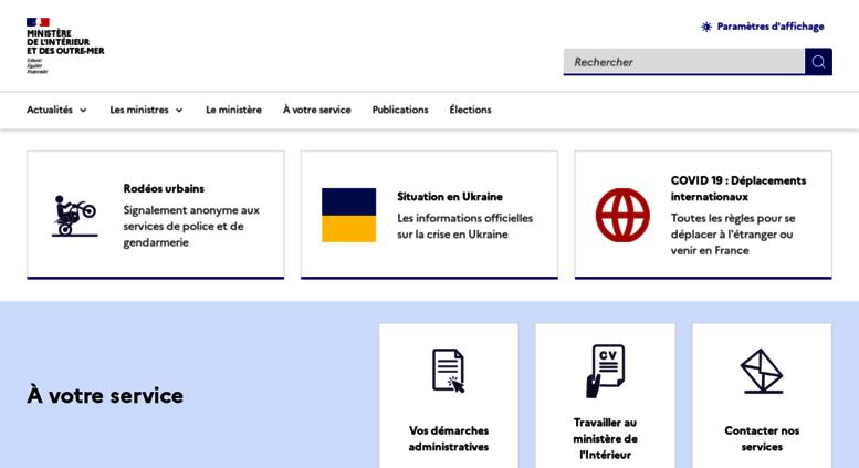 Access interieur.gouv.fr. Accueil - Ministère de l\'Intérieur
