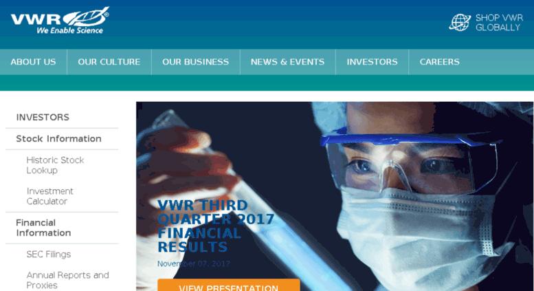 Access investors.vwr.com. Investors - VWR International, LLC