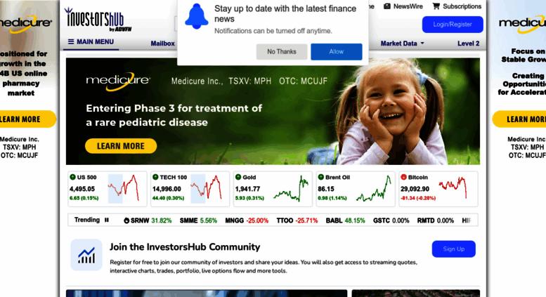 Access investorshub.advfn.com. InvestorsHub - NYSE, NASDAQ, AMEX ...