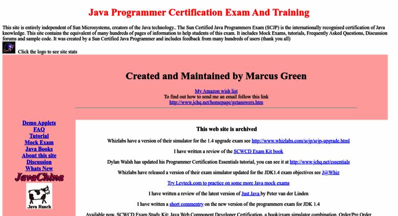 Access jchq.net. Java Programmer Certification, SCJP FAQ, Tutorial ...