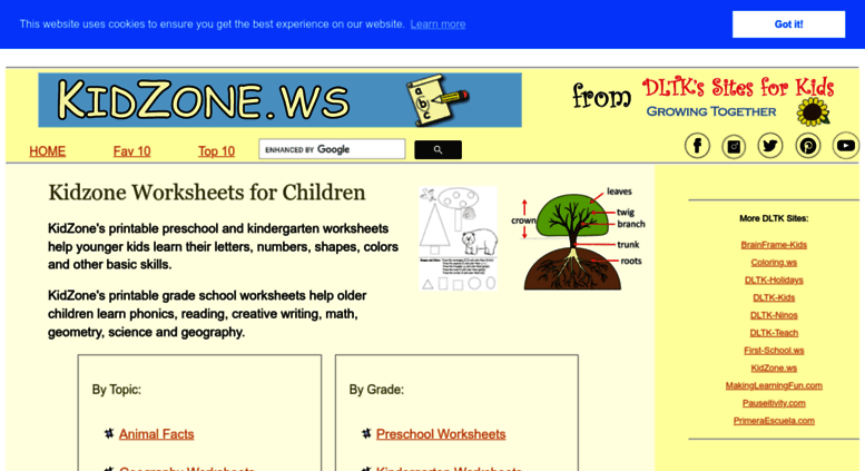 Access kidzone.ws. Kidzone Educational Worksheets!