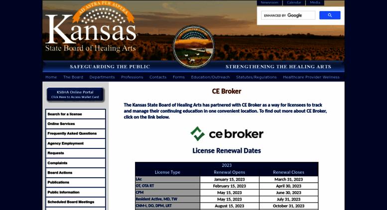 ksbha Access ksbha.org. Kansas State Board of Healing Arts