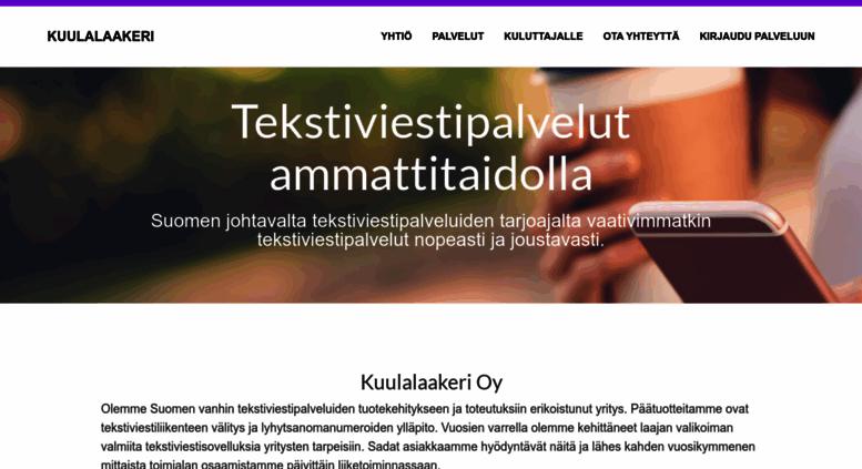Access kuulalaakeri.fi. Tekstiviestipalvelut ammattitaidolla ... cf1f3b5817