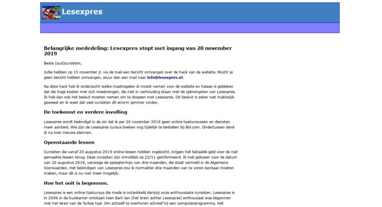 Access lesexpres.nl. Lesexpres   online cursus Turks Frans Spaans