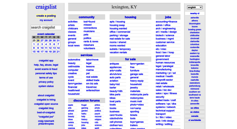 Access Lexington.craigslist.org. Craigslist: Lexington, KY Jobs,  Apartments, For Sale, Services, Community, And Events