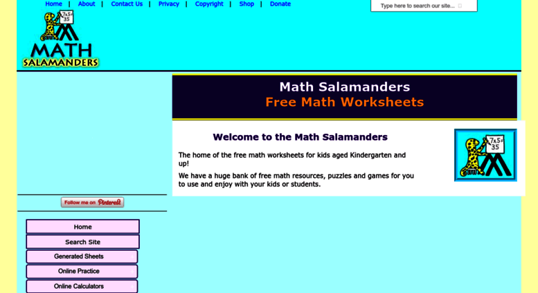 Access Math Salamanders Math Worksheets Printable From The Math